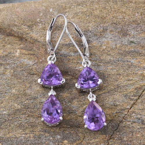 Lavender Alexite (Pear) Lever Back Earrings in Platinum Overlay Sterling Silver 6.750 Ct.