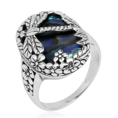 Royal Bali Collection Abalone Shell Dragonfly Ring in Sterling Silver
