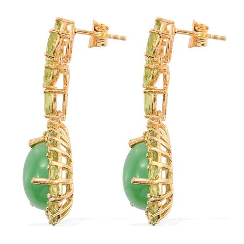 Green Jade (Pear), Hebei Peridot Earrings (with Push Back) in 14K Gold Overlay Sterling Silver 19.750 Ct.