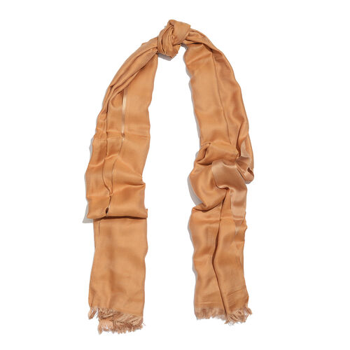 Brown Colour Reversible Scarf with Fringes (Size 200X70 Cm)