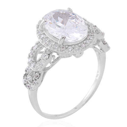 ELANZA AAA Simulated White Diamond (Ovl 12x9 mm) Ring in Rhodium Plated Sterling Silver