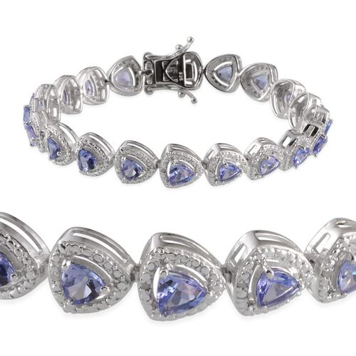 AA Tanzanite (Trl), Diamond Bracelet in Platinum Overlay Sterling Silver (Size 7) 7.000 Ct.