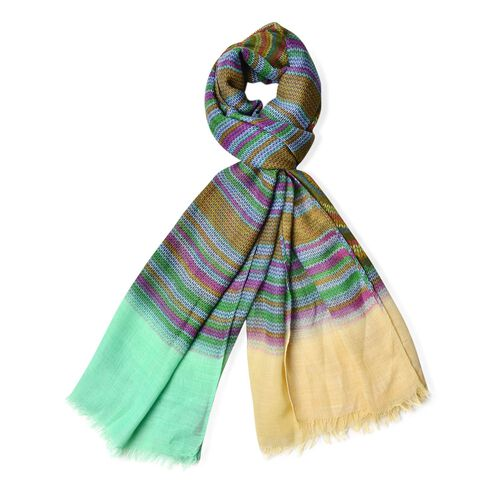 Yellow, Purple and Multi Colour Helicoid Pattern Green Colour Scarf (Size 170x85 Cm)