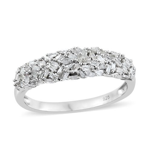 Diamond Platinum Overlay Sterling Silver Ring  0.530  Ct.