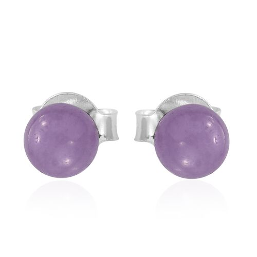 Super Auction- Rare Purple Jade Ball Beads Bolo Bracelet (Size 6.5 to 8.5) and Stud Earrings (with Push Back) in Rhodium Plated Sterling Silver 37.280 Ct.