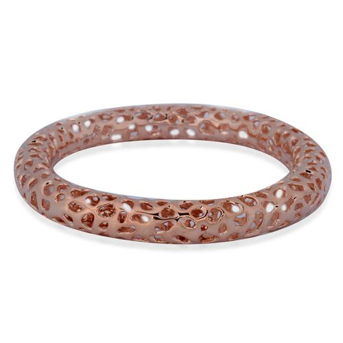 RACHEL GALLEY Rose Gold Overlay Sterling Silver Allegro Bangle (Size 7.5 / Small), Silver wt 27.70 Gms.