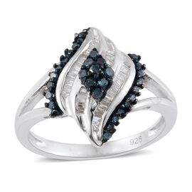 Blue Diamond (Rnd), White Diamond Cocktail Ring in Platinum Overlay Sterling Silver 0.330 Ct.