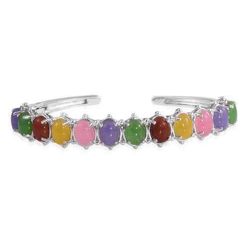 Yellow Jade (Ovl), Red Jade, Green Jade, Pink Jade and Purple Jade Cuff Bangle (Size 7.5) in ION Plated Platinum Bond 28.500 Ct.