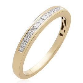 ILIANA 18K Y Gold IGI Certified Diamond (Sqr) Half Eternity Band Ring 0.250 Ct.