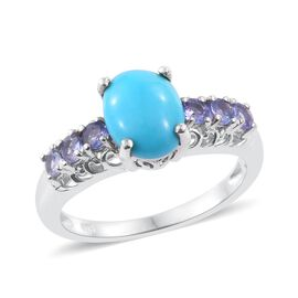 Arizona Sleeping Beauty Turquoise (Ovl 1.50 Ct), Tanzanite Ring in Platinum Overlay Sterling Silver 2.000 Ct.