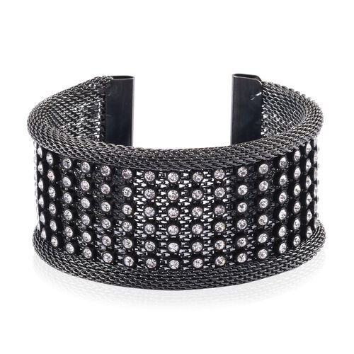 White Austrian Crystal Studded Mesh Cuff Bangle (Size 7.5) in Black Tone