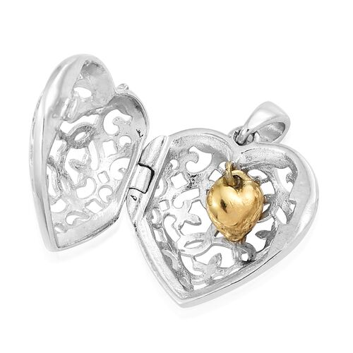 Designer Heart Pendant with Pebble Inside in Platinum and Gold Plated Silver
