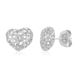 RACHEL GALLEY Rhodium Plated Sterling Silver Lattice Heart Stud Earrings (with Push Back), Silver wt. 3.85 Gms.