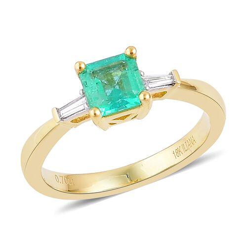 ILIANA 18K Yellow Gold 0.75 Ct AAA Boyaca Colombian Emerald Ring with Diamond SI G-H