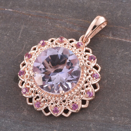 Designer Inspired-Rose De France Amethyst (Rnd), Rare Mozambique Grape Colour Garnet Pendant in Rose Gold Overlay Sterling Silver 6.500 Ct.