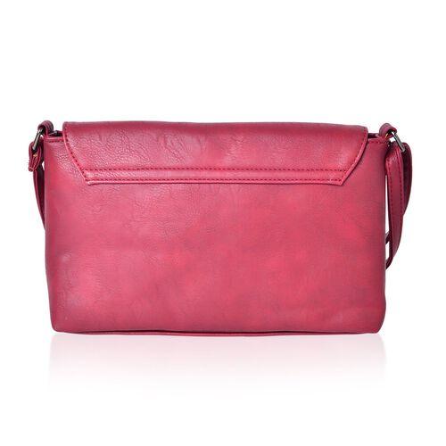 Burgundy Colour Envelope Design Crossbody Bag with Adjustable Shoulder Strap (Size 27X17.5X8 Cm)