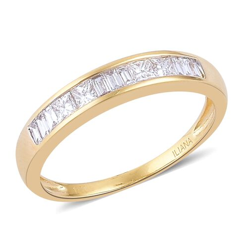ILIANA 18K Yellow Gold IGI Certified 0.50 Carat SI G Diamond Half Eternity  Ring