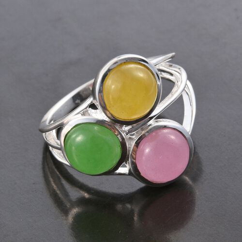 Green Jade (Rnd 1.00 Ct), Pink Jade and Honey Jade Ring in Sterling Silver 3.000 Ct.
