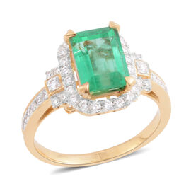 Signature Collection- ILIANA 18K Yellow Gold AAA Boyaca Colombian Emerald and Diamond (SI/G-H) Ring 2.520 Ct.