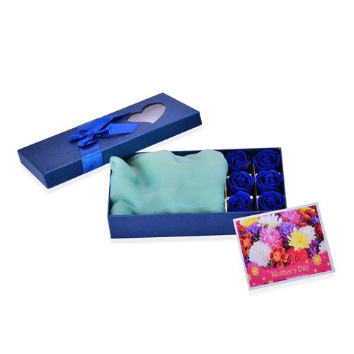 Mother s Day Special Set of 3 - 100% Silk Blue, White and Yellow Colour Scarf (Size 180x70) with 6 Pcs Floral Shape Soap in a Blue Colour Box