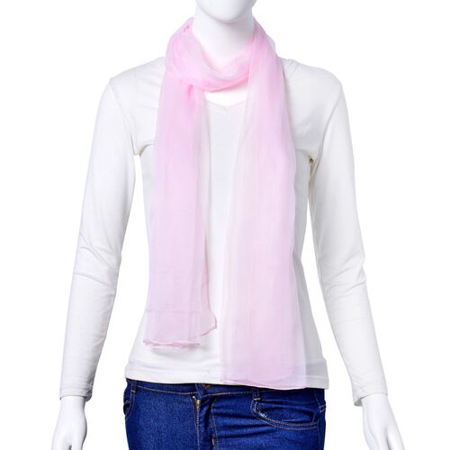 100% Mulberry Silk Light Pink Colour Scarf (Size 170X70 Cm)