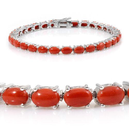 Natural Mediterranean Coral (Ovl) Bracelet in Platinum Overlay Sterling Silver (Size 7.5) 11.000 Ct. Silver wt 10.00 Gms.