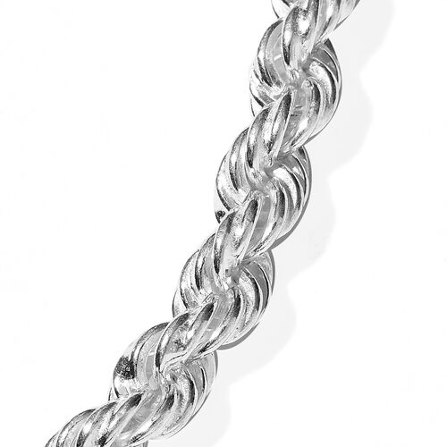 One Time Deal - Thai Sterling Silver Rope Necklace with Magnetic Lock (Size 20), Silver wt. 40.04 Gms.