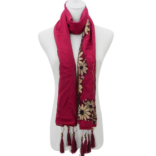 Floral Pattern Burgundy Colour Scarf with Embellishment (Size 170x60 Cm)