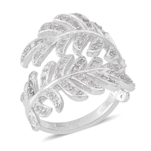 ELANZA AAA Simulated Diamond (Rnd) Leaves Crossover Ring in Rhodium Plated Sterling Silver