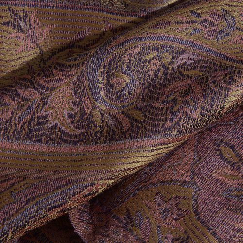 SILK MARK - 100% Superfine Silk Purple Wine and Multi Colour Paisley and Floral Pattern Jacquard Jamawar Scarf with Tassels (Size 160X35 Cm)