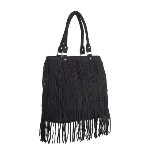 Genuine Leather Black Colour Full Fringe Tote Bag (Size 35x12x38 Cm)