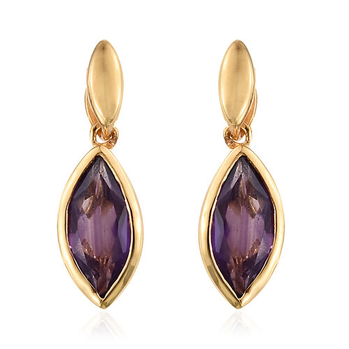 Amethyst 2 Ct Sterling Silver Earrings (with Push Back) in 14K Gold Overlay