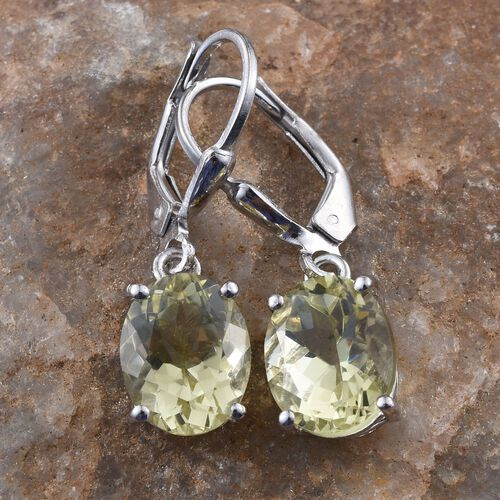 Natural Ouro Verde Quartz (Ovl) Lever Back Earrings in Platinum Overlay Sterling Silver 5.000 Ct.