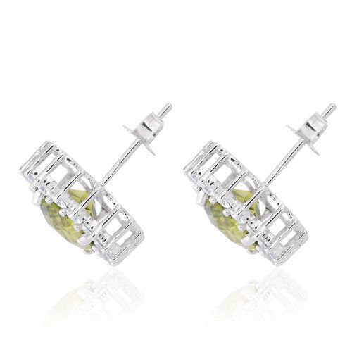 9K W Gold Checkerboard Cut AAA Hebei Peridot (Cush), Natural White Cambodian Zircon Stud Earrings (with Push Back) 5.750 Ct.