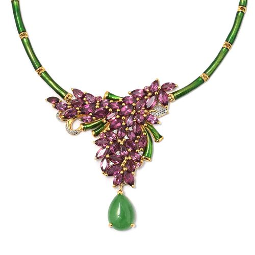 GP Green Jade (Pear), Kanchanaburi Blue Sapphire, Rhodolite Garnet and Natural Cambodian Zircon Enameled Floral Necklace (Size 18) in 14K Gold Overlay Sterling Silver 20.000 Ct. Silver wt 18.54 Gms.