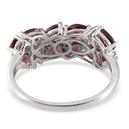 Orissa Rhodolite Garnet (Pear), White Topaz Ring in Platinum Overlay Sterling Silver 3.150  Ct.