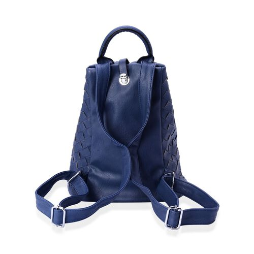 Olympia Blue Weave Pattern Back Pack with Adjustable Shoulder Strap (Size 34.5x27x17 Cm)