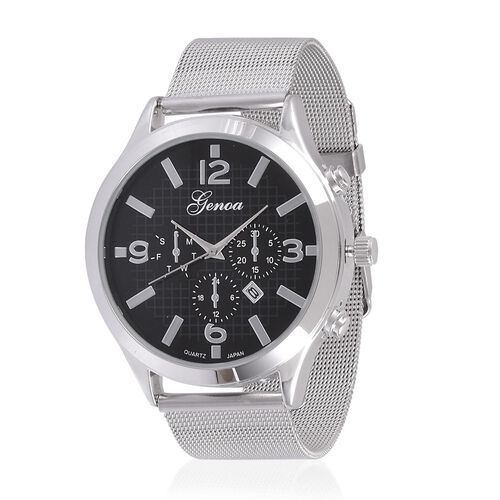 GENOA Japanese Movement Black Dial Water Resistant Watch in Silver Tone with Stainless Steel Back and Chain Strap