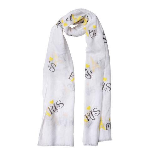 Yellow Colour Eiffel Tower Pattern White Colour Scarf (Size 180x70 Cm)