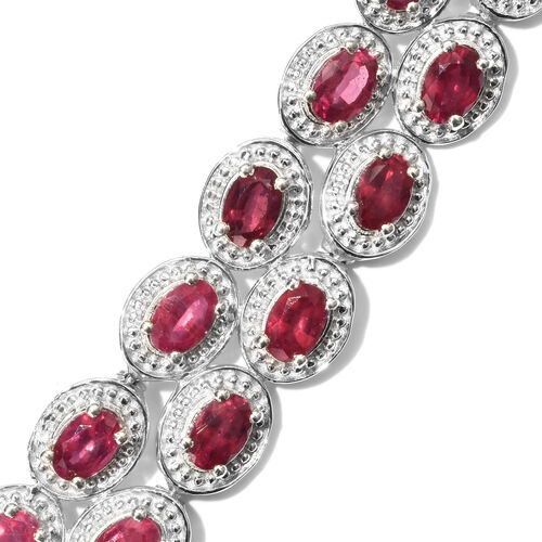 African Ruby (Ovl) Necklace (Size 18) in Platinum Overlay Sterling Silver 22.750 Ct.