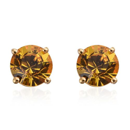 J Francis Crystal from Swarovski - Sunflower Colour Crystal (Rnd) Stud Earrings (with Push Back) in 14K Gold Overlay Sterling Silver
