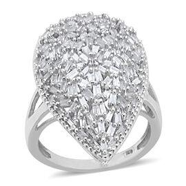 Firecracker Diamond (Bgt) Ring in Platinum Overlay Sterling Silver 0.750 Ct.