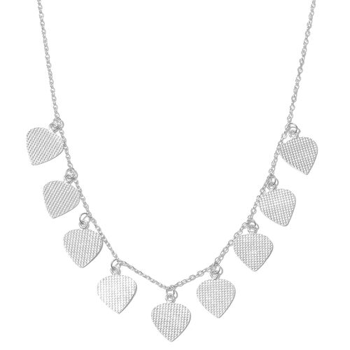 Italian Designer Inspired-Rhodium Plated Sterling Silver Dangling Hearts Necklace (Size 18)