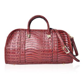 Chocolate Colour Croc Embossed Tote Bag with External Zipper Pocket and Adjustable and Removable Shoulder Strap (Size 40.5X21.5X15 Cm)
