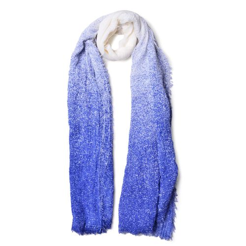 Blue and White Colour Ombre Pattern Scarf with Fringes (Size 180x90 Cm)