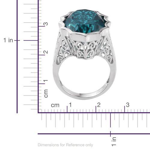Capri Blue Quartz (Ovl) Ring in Platinum Overlay Sterling Silver 18.750 Ct.