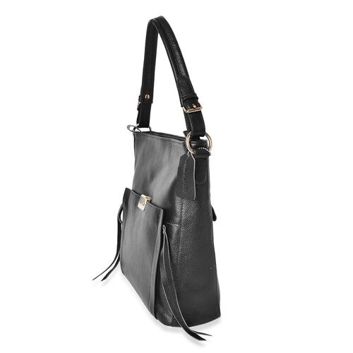 Premium Collection 100% Genuine Leather Black Colour Tote Bag with External Zipper Pocket (Size 29X27X10 Cm)