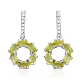 Hebei Peridot (Ovl) Earrings (with Push Back) in Rhodium Plated Sterling Silver 3.000 Ct.