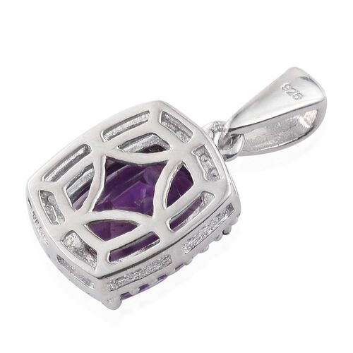 Moroccan Amethyst (Cush 2.75 Ct), Natural Cambodian Zircon Pendant in Platinum Overlay Sterling Silver 3.000 Ct.