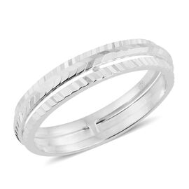 Designer Inspired - Sterling Silver Diamond Cut Spinner Band Ring, Silver wt 3.00 Gms.